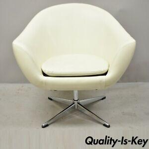 Mid Century Contemporary Shells Inc Overman White Vinyl Swivel Lounge Pod Chair