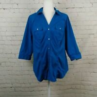 Lane Bryant Blue Green Button Up 3/4 Sleeve Shirt Size 14/16 Cotton Blend