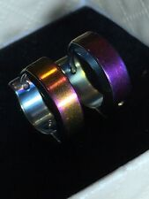 RAINBOW  HOOP  Stud Earrings COLOUR Enamel  STAINLESS STEEL SILVER