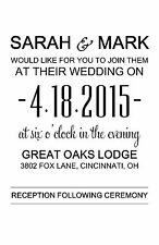 Wedding Invitations Simple Words  - 50 Invitations & RSVP Cards Any Colors