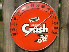 "Orange Crush Thermometer Glass Face 12"" Working Original Orange Crush Sign"