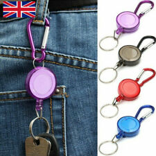 Recoil Extendable Metal Wire 60cm Key Chain Ring Clip Pull Keyring Retracting UK
