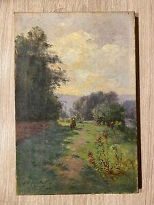 tableau paysage signé E HUAULT post impressionniste daté de  1904 avec dédicace