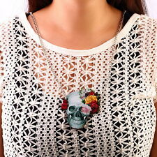 Flower Rose Skull Skeleton Wood Acrylic Pendant  Chain Necklace Jewelry Gift OE