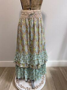 Free People Crochet waist floral ruffled midi Silk skirt size XS/TP
