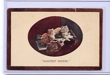 VINTAGE MISCHIEF MAKERS THREE CATS KITTENS POSTCARD #1278 GERMANY
