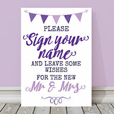 Purple & Lilac Bunting Wishes For Mr & Mrs Guest Book Wedding Sign 3 FOR 2 (PL9)