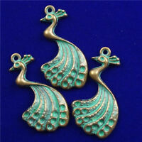 35x20x3mm 2Pcs New Carved Brass Bronze Peacock Pendant Bead  NN426