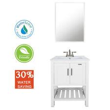 "24"" White Bathroom Vanity W/Drop in Rectangle Ceramic Sink Faucet Mirror"
