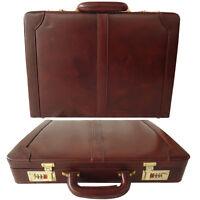 Zint Genuine Leather Attache Hard Case Briefcase Bag Combination Locks Brown