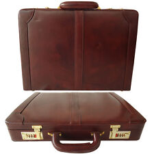 Zint Genuine Leather Attache Hard Case Briefcase Bag Combination Locks Brown