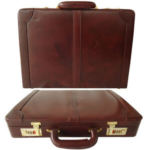 Genuine Leather Hard Briefcase Vintage Style Attache Case Bag Father's Day Gift