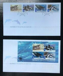 MAFD76) Australia 2009 WWF Dolphins Minisheet FDC (2 covers)