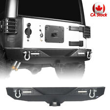 Textured Rear Bumper w/ LED Lights & 2x D-Shackle for Jeep Wrangler JK 2007-2018