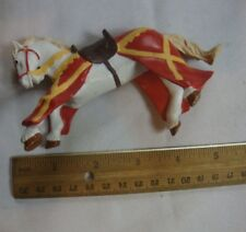 Papo Medieval Knights War Horse Red White Collectible Action Figure Figurine 5""