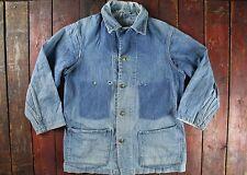 Vintage 50s Oshkosh sanforizada se DESVANECIÓ DENIM Workwear tarea Chaqueta Abrigo corto de EE. UU. M