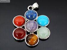 Natural Gemstones Healing Reiki Chakra Six Petal Flower Pendant Charm Beads