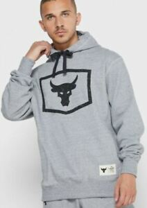 $80 NEW Mens Under Armour Project Rock Hoodie Bull Warm Up Long Sleeve Gray SZ L
