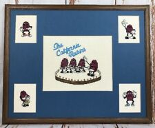 Vtg California Raisins Cross Stitch Framed Wall Art Hanging Advertising Picture
