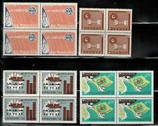 South Korea #348,360,430,469 Blocks of 4 MNH