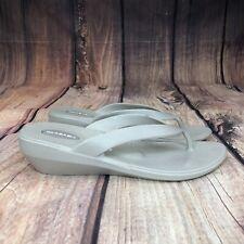 Okabashi Wedged Flip Flops Women Size 7.5 Thong Sandals Medium - Beige