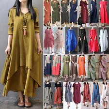 Plus Size Women Vintage Plain Cotton Dresses Loose Kaftan Casual Maxi Long Dress