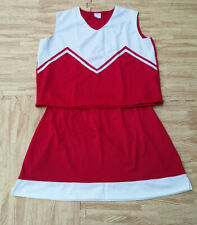 """Adult M/L Red White Cheerleader Uniform Top Stretch Skirt 36-38/28-31"""" Cosplay"""