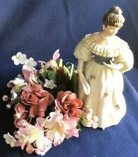 Vintage Home Interiors Woman Figurine Standing with Floral Bouquet No 1463