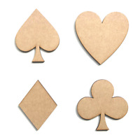 Wooden MDF Card Symbols Spade Club Heart Diamond Shapes Embellishment Decoration