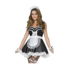 Sexy French Maid Costume Kit Magenta Rocky Horror Ladies Garter Fancy Dress