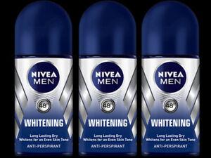 3 XPCS NIVEA FOR MEN WHITENING ROLL ON 50ML DEODORANT 48 HRS ANTIPERSPIRENT