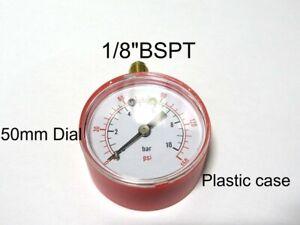 PRESSURE GAUGE AIR OIL WATER 0-10 BAR 0-150 PSI 50mm DIA DIAL 1/8 BSP 50.185