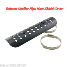 "Universal Motorcycle Exhaust Muffler Pipe Heat Shield Cover Heel Guard 9"" Black"
