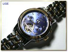 LIGE tolle Herrenarmbanduhr 42mm, blau, sichtbare Unruhe, Automatikwerk NM59