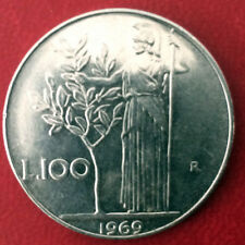 Moneta Repubblica ITALIANA - 100 LIRE MINERVA 1969  SLENDIDA da rotolino  22/5