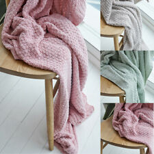 Nordic Style Solid Colors Knitted Blankets Air Conditioning Sofa Blanket Home