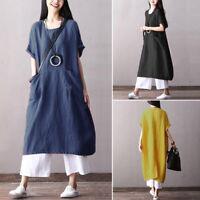 ZANZEA Women Vintage Ethnic Long Shirt Dress Summer T-Shirt Dress Sundress Plus