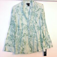 Rafaella 100% Linen Long Sleeve Ladies Top Size 6 - Floral Greenish Turquoise