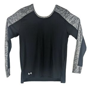 Womens Under Armour Long Sleeve Shirt Size M Medium Black and Gray Heather Thumb
