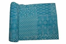 Gudri Kantha Quilt Indigo Turquoise Patchwork Bedspread Cover Throws Rally Queen
