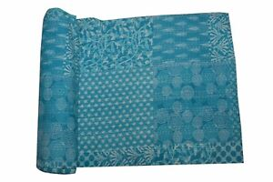 Gudri Kantha Quilt Indigo Turquoise Patchwork Bedspread Cover Throws Rally Twin