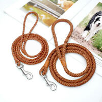 Braided Rolled Leather Dog Lead For Small Medium Dogs Puppy Cat Pet Walking Lead