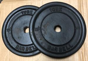 "York Vintage Barbell Plates 12.5 lbs Lot of 2 Standard 1"" Hole"