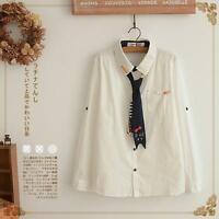 63ca8b6c3a0f79 Women's Spring Blouse Embroidery Cat Pattern White Long Sleeves with  Necktie New