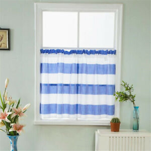 Short Stripes Half-curtain Semi Sheer Cafe Valance for Home Kitchen Window