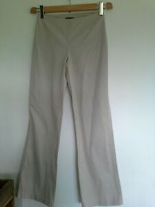 Sisley taupe cotton stretch straight leg fitted trousers side zips size euro 38