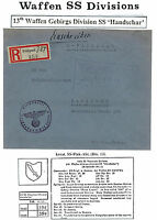 1943 Germany Waffen SS Feldpost Cover 13th SS Mountain Division Croatian Bosnian