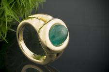 Schmuck Prächtiger Smaragd Cabochon Ring Massiv in 750er Gelbgold 18 Karat Gold