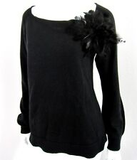 LAUREN HANSEN 100% CASHMERE REMOVABLE FEATHER BROACH LONG SLEEVE SWEATER SIZE L