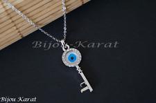 Nazat cadena de plata clave remolque Evil Blue Eye key Necklace Silver plated